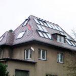 Wohnhaus in Leipzig Biberdeckung, mit Velux-Fenstern und Velux-Solarthermieelementen