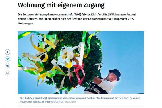 Artikel der Märkischen Allgemeinen vom 8.6.2018